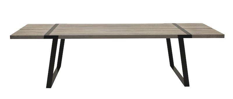 Canett – Rustic spisebord 100x240 - hvidolieret eg og sort på unoliving.com