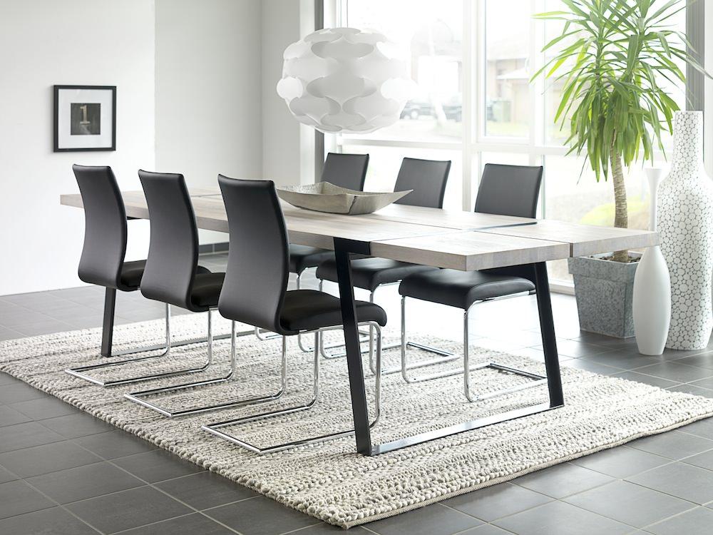 Canett Rustic spisebord 100x290 - hvidolieret eg og sort på unoliving.com