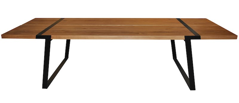 Canett – Rustic spisebord - 100x240 - eg og sort metal fra unoliving.com