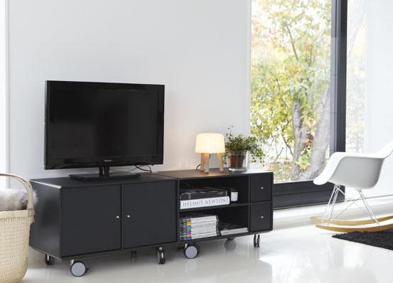 Abc reoler – Abc - quadrant tv-modul på hjul - sort fra unoliving.com