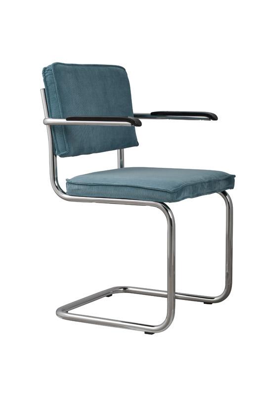 Zuiver - ridge spisebordsstol m/arm - blå fløjl fra Zuiver på unoliving.com