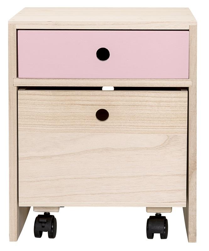 Bloomingville – Bloomingville mini sengebord med lyserød skuffe på unoliving.com
