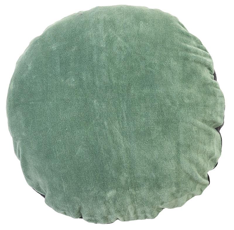 Bloomingville pude - grøn velour - rund fra Bloomingville på unoliving.com