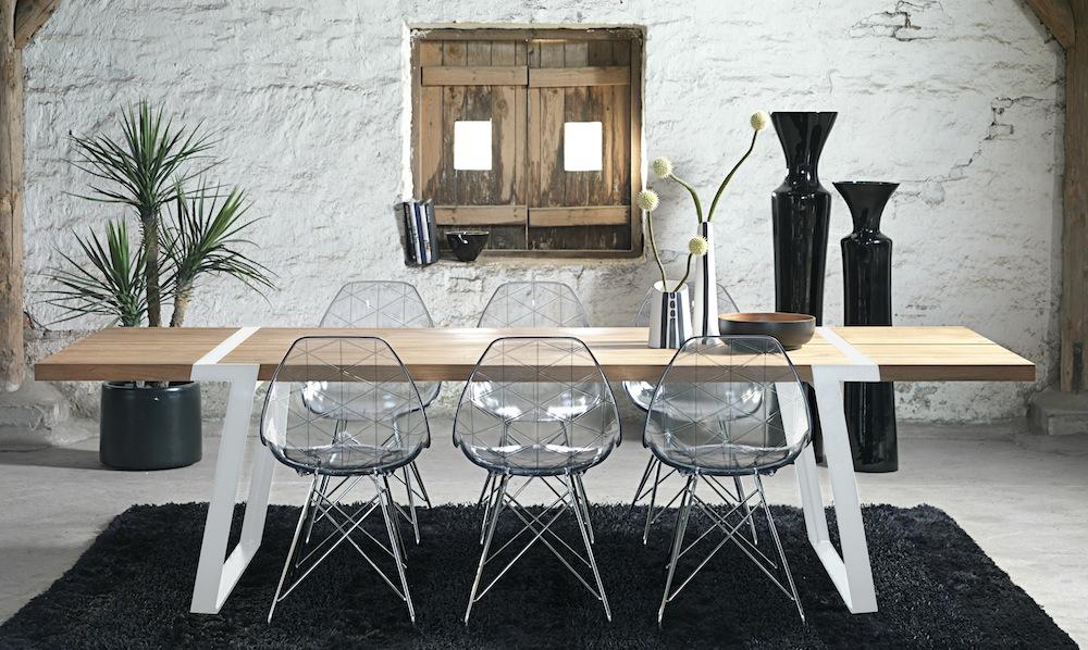 Canett – Rustic spisebord - 100x290 - eg og hvid metal fra unoliving.com