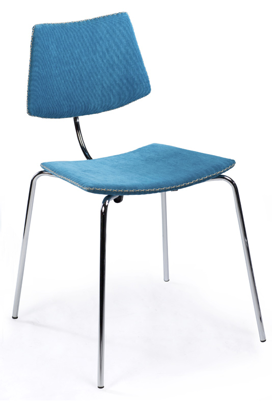 Dan-form Danform - cha cha spisebordsstol - blå fløjl på unoliving.com