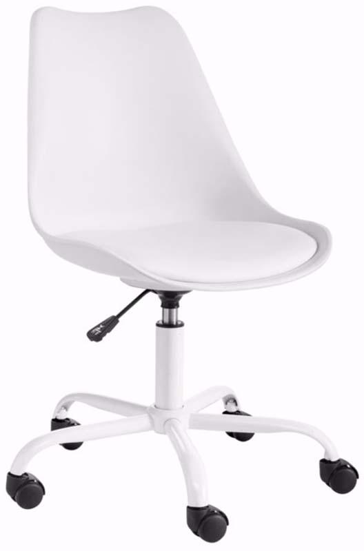 N/A Dan kontorstol hvid plast med pu sæde fra unoliving.com