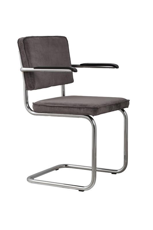 Zuiver – Zuiver - ridge spisebordsstol m/arm - grå fløjl fra unoliving.com