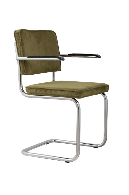 Zuiver - ridge spisebordsstol m/arm - grøn fløjl fra Zuiver fra unoliving.com