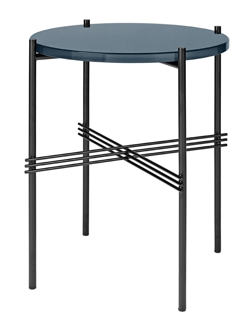 Gubi Gubi - ts lounge bord - gråblå glas - ø40 på unoliving.com