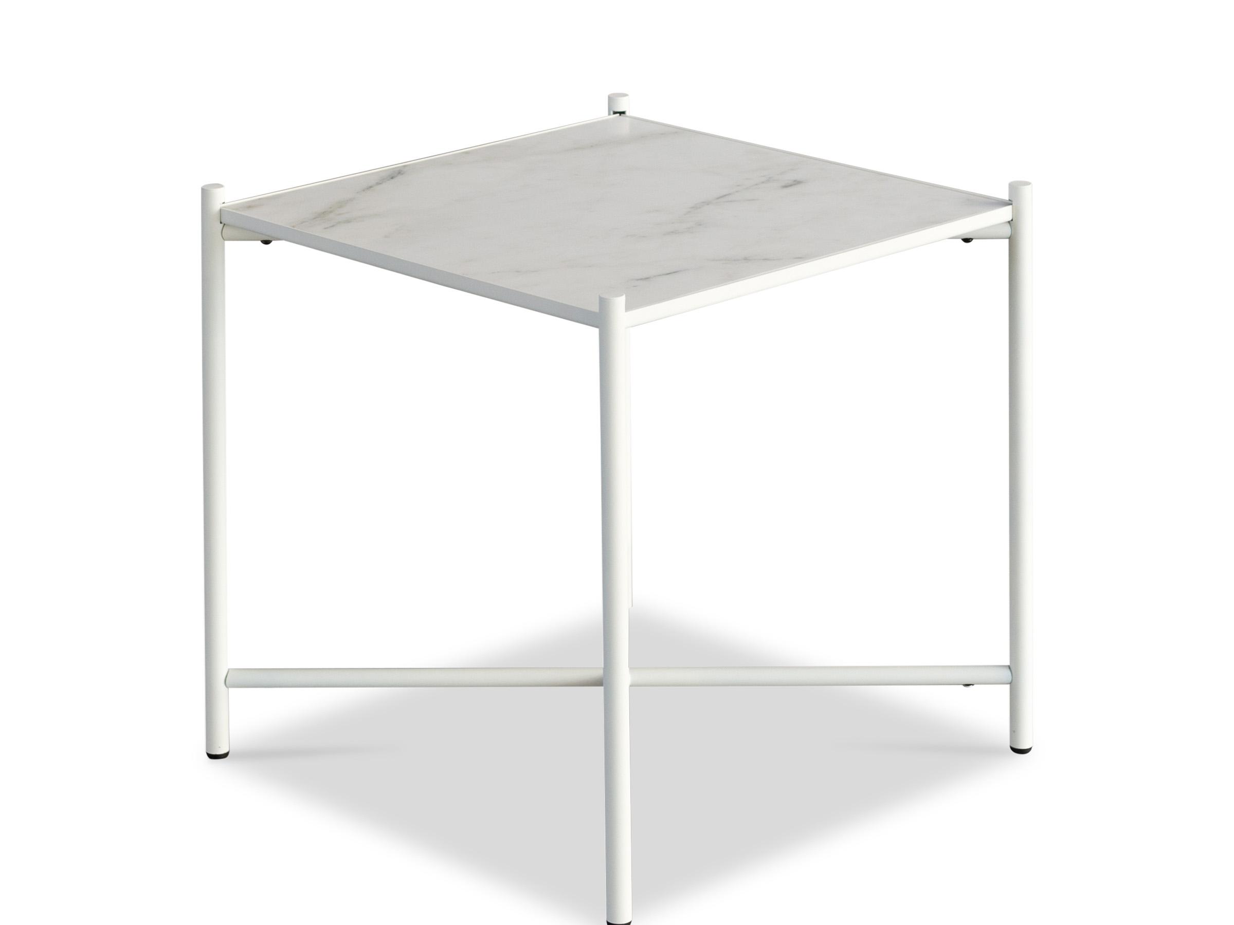"""Handvã""""rk - sidebord 48x48 - hvid marmor, hvid stel fra Handvã""""rk på unoliving.com"""