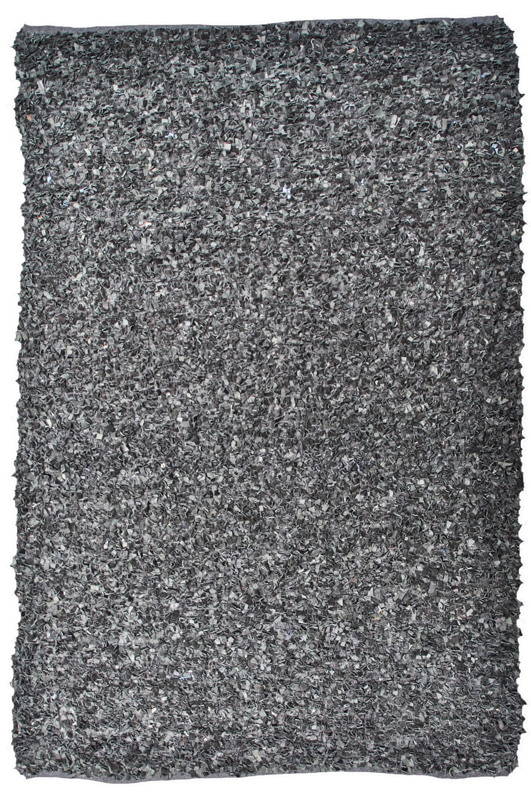 N/A – Leather rya ryatæppe - sort - 160x230 på unoliving.com