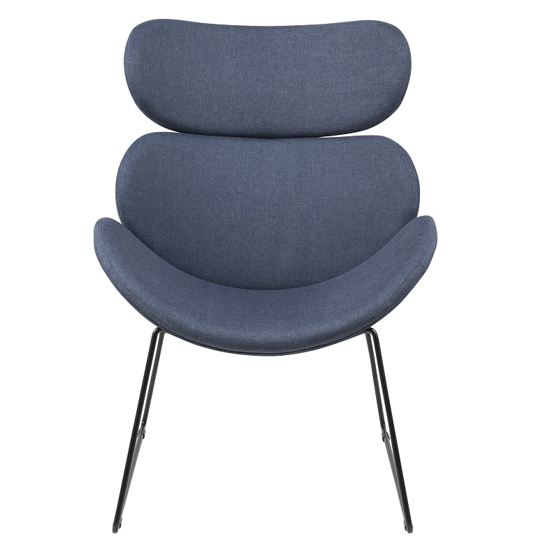 Hunt hvilestol i mørkeblå stof - sort fod fra N/A på unoliving.com