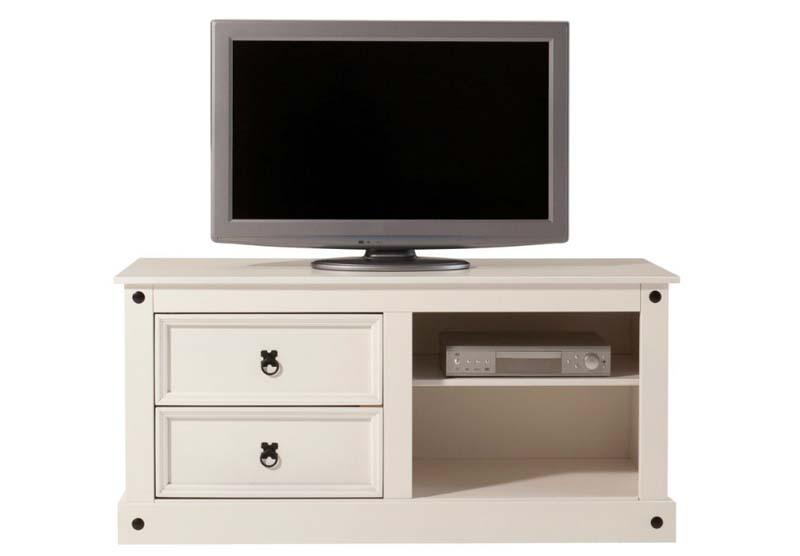 Corona tv-bord hvid lakeret fyrretræ fra N/A fra unoliving.com
