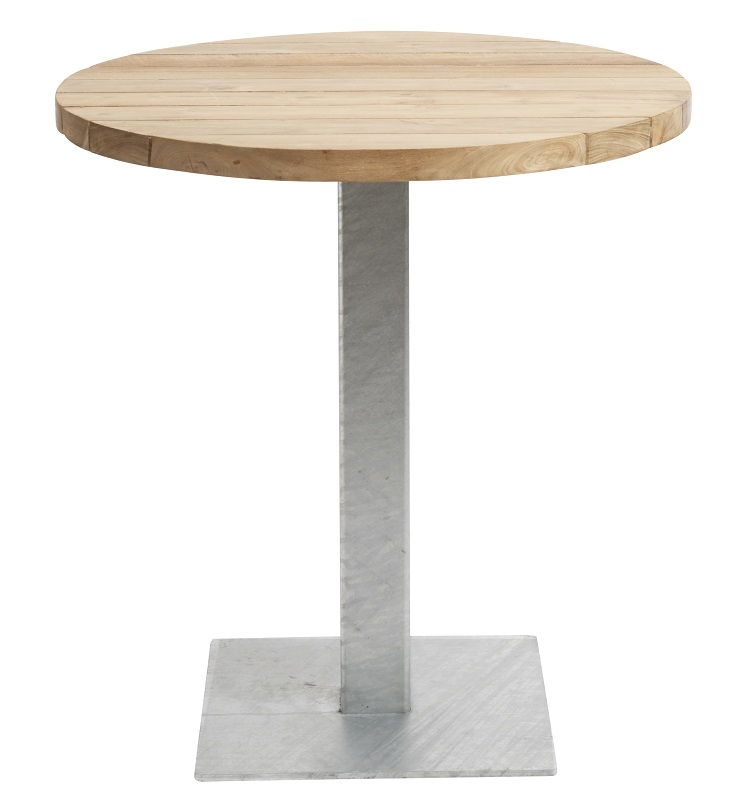 Muubs - suluna cafébord ø70 i teak - galv. stål fra Muubs på unoliving.com