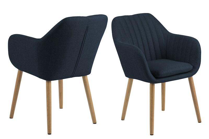 Mynte spisebordsstol m/armlæn - mørkeblå stof fra N/A fra unoliving.com