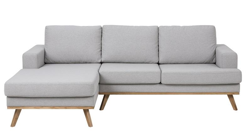 N/A Niche 2-pers. sofa med chaise til venstre - lysegrå fra unoliving.com