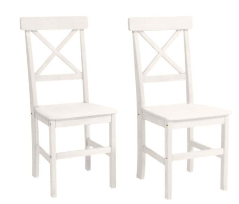 N/A – Nicoline spisestuestol hvid lakeret med hvidt sæde på unoliving.com