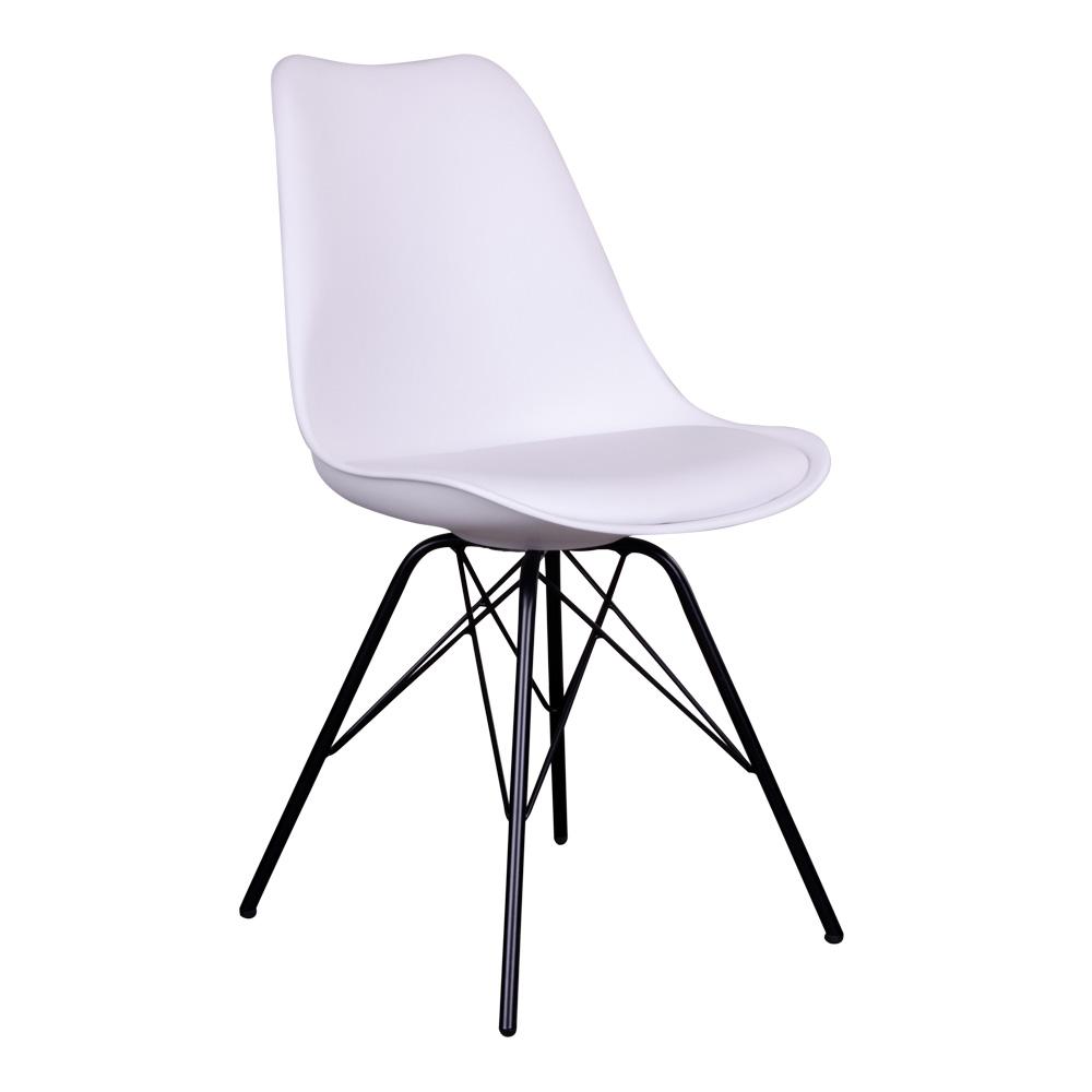 Oslo Spisebordsstol i hvid med sorte ben