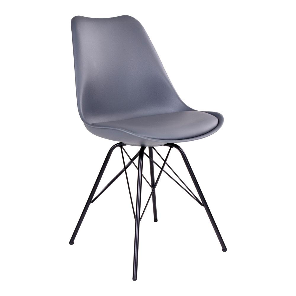 Oslo Spisebordsstol i grå med sorte ben