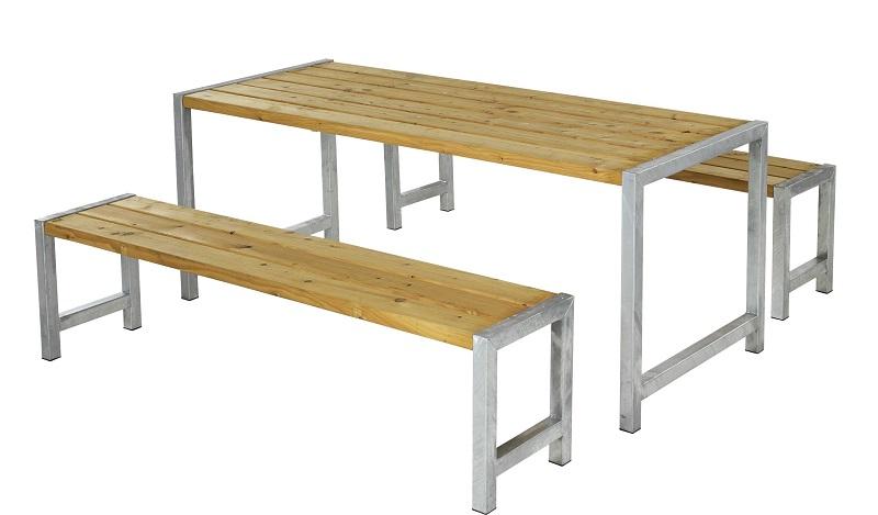 Plus - plankesæt m/stel i varmgalv.stål - oliebehandlet lærk fra N/A på unoliving.com