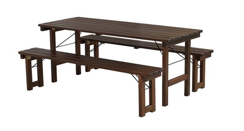 Plus - picnic klapmøbelsæt 180x70 - grundmalet brun fra N/A fra unoliving.com
