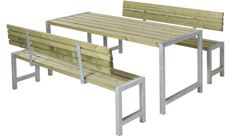 N/A Plus - plankesæt m/bord og 2 bænke - trygimprægneret fra unoliving.com
