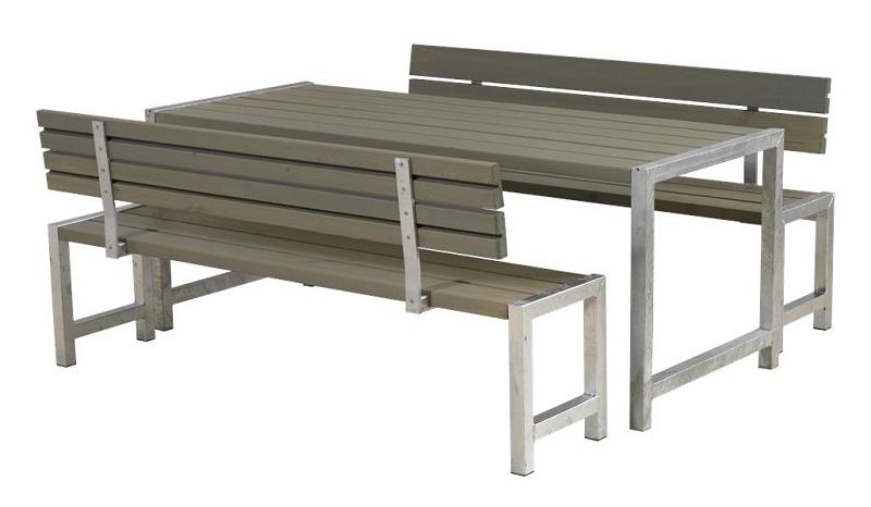 N/A – Plus - plankesæt m/bord og 2 bænke - gråbrun på unoliving.com