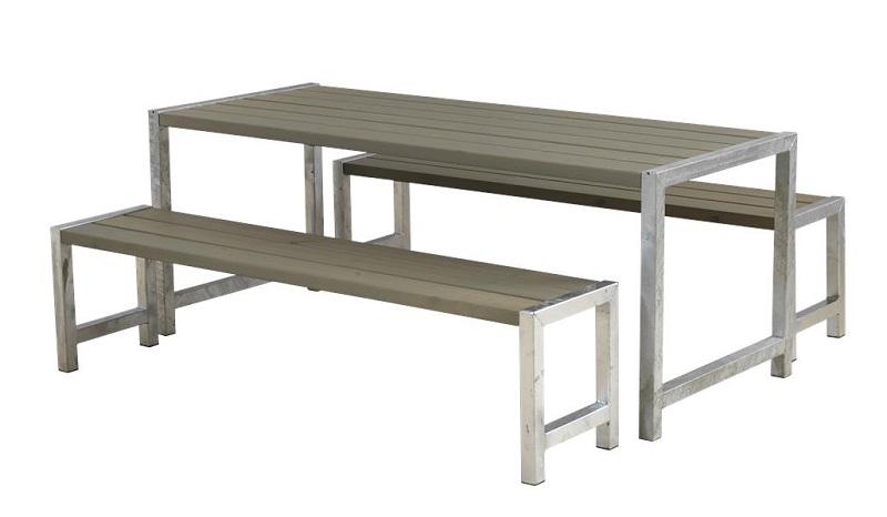 N/A Plus - plankesæt m/stel i varmgalv.stål - gråbrun på unoliving.com