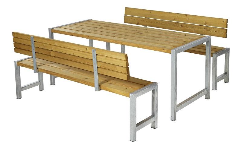 N/A – Plus - plankesæt m/bord og 2 bænke - oliebehandlet lærk på unoliving.com