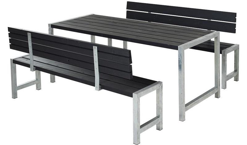 N/A – Plus - plankesæt m/bord og 2 bænke - sort på unoliving.com