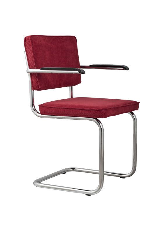 Zuiver - ridge spisebordsstol m/arm - rød fløjl fra Zuiver på unoliving.com
