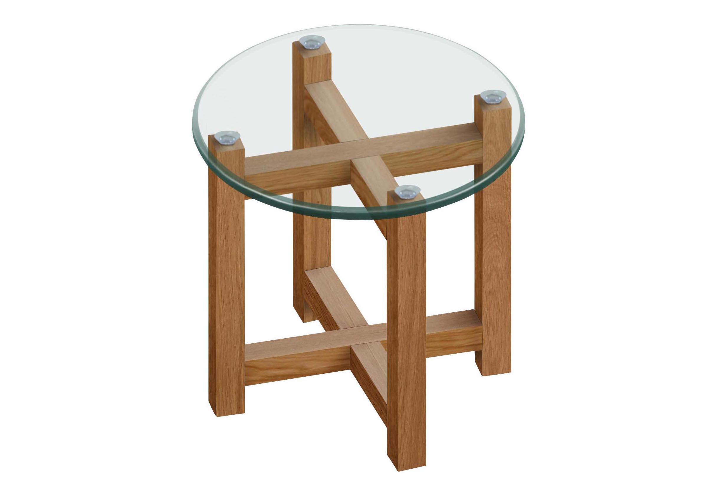 N/A – Malia hjørnebord - glas - ø50 fra unoliving.com
