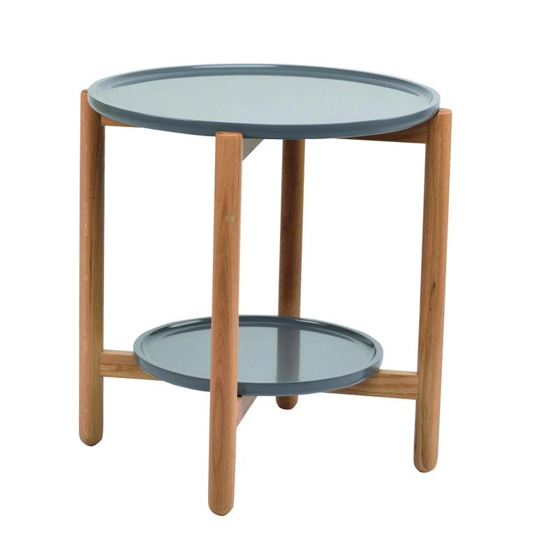 N/A Peel sidebord - grå top og egeben - rund - ø55 på unoliving.com