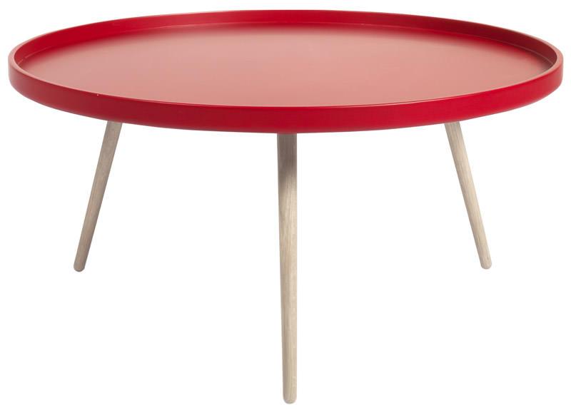 Bliss sofabord - rød /hvid eg - ø90 fra N/A på unoliving.com