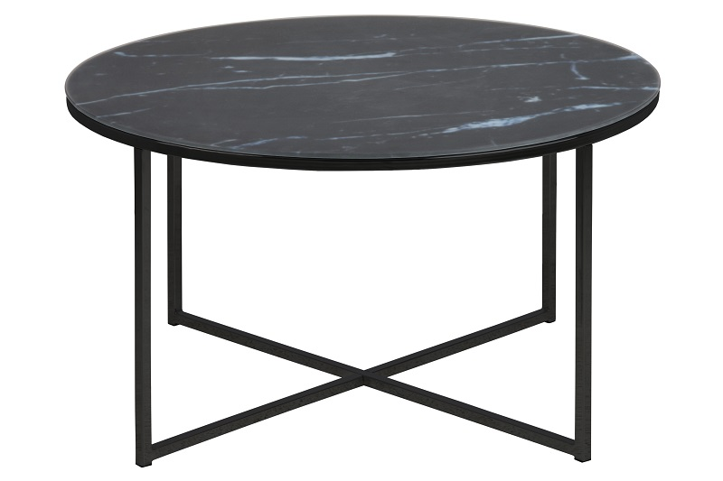 N/A – Filippa sofabord - sort marmorprint ø80 på unoliving.com