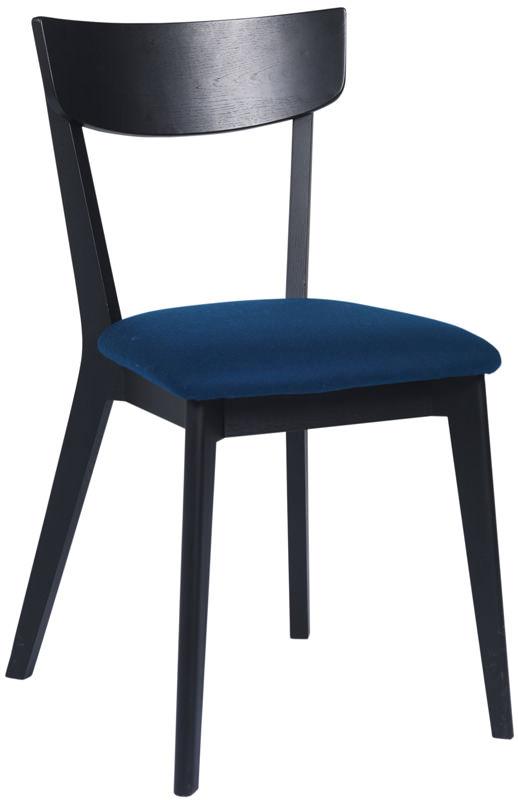 Billede af Lima Spisebordsstol - sortbejdset eg m. blå filt