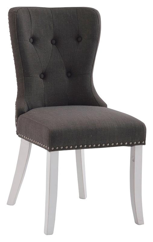 Nelly spisebordsstol - grå stof m. hvide ben fra N/A på unoliving.com