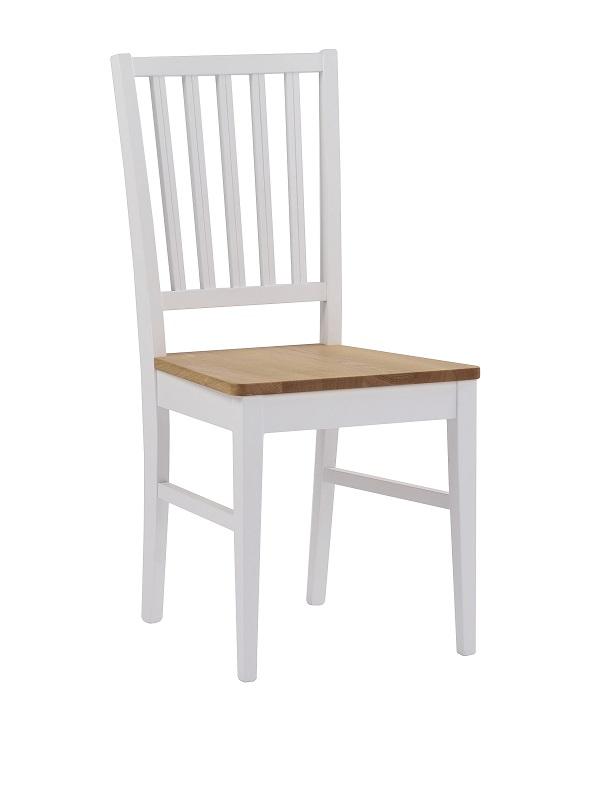 Gabriella spisebordsstol - hvid m. egetræssæde fra N/A på unoliving.com