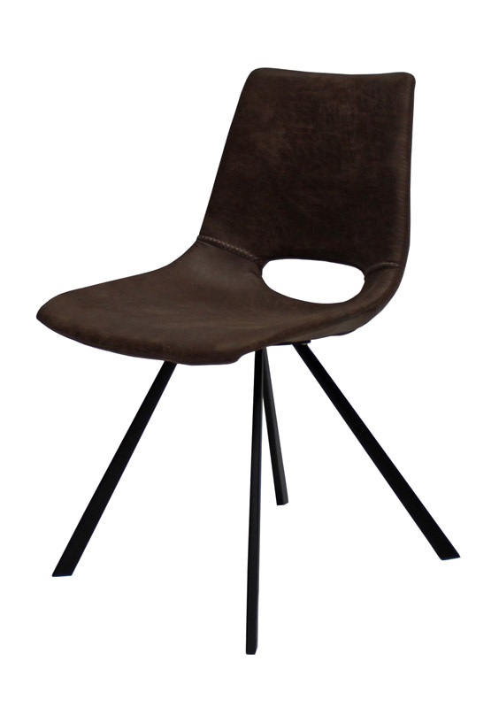 Canett Wayne spisebordsstol - mørk brun microfiber på unoliving.com