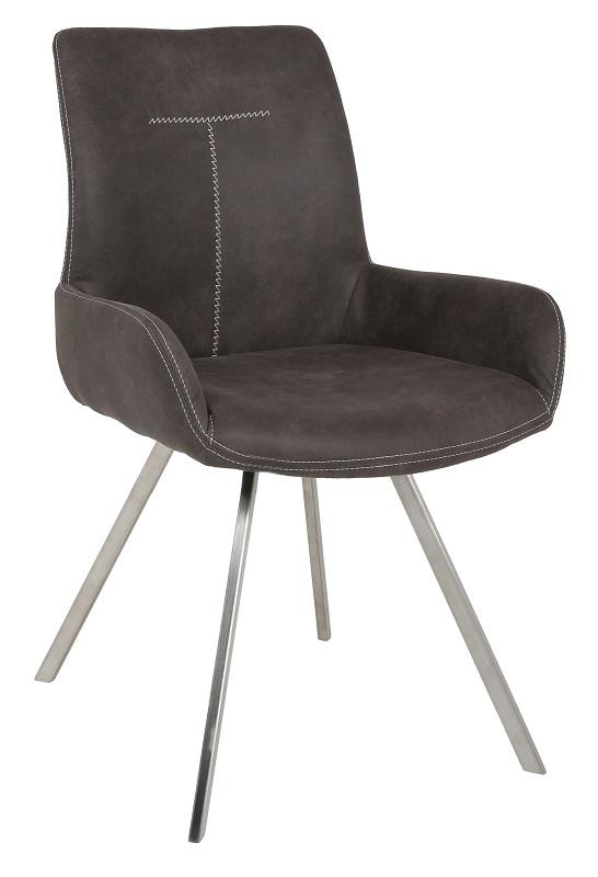 Don spisebordsstol m. armlæn i  grå microfiber fra Canett på unoliving.com