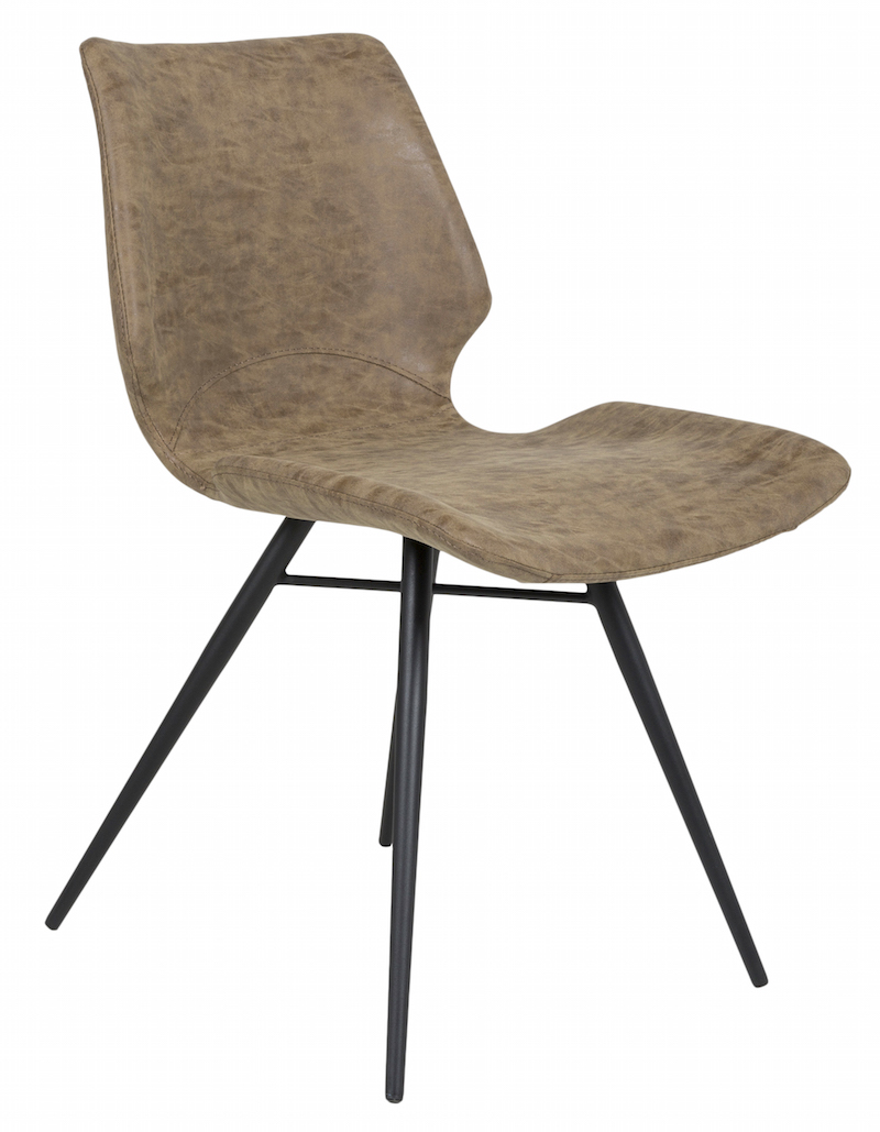 Canett Amelia spisebordsstol - brun læderlook på unoliving.com