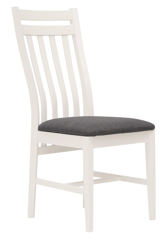 Canett – Hamptons  spisebordsstol - hvid m. gråt stof på unoliving.com