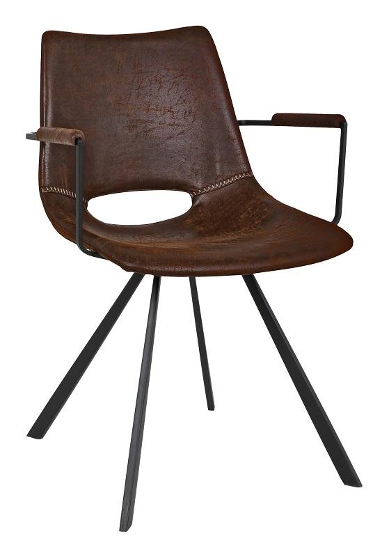 Wayne spisebordsstol - brun m. armlæn fra Canett på unoliving.com