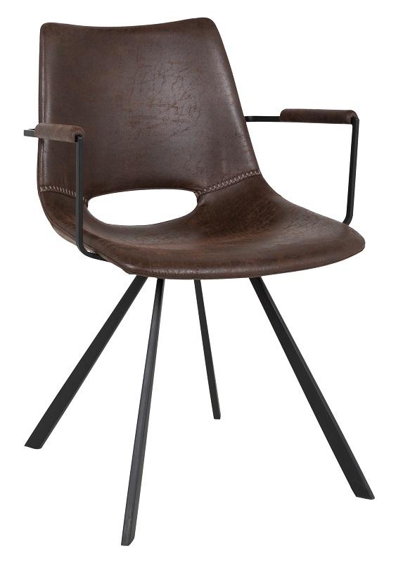 Canett – Wayne spisebordsstol - mørkebrun m. armlæn på unoliving.com