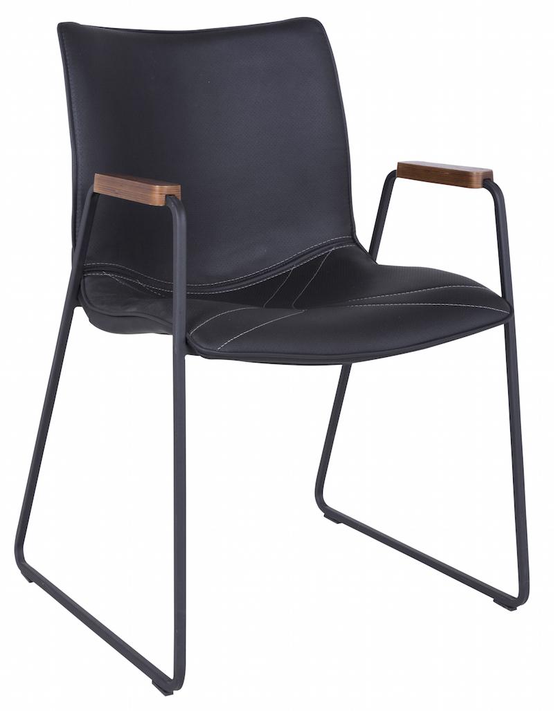 Canett Johan spisebordsstol m/armlæn - sort pu fra unoliving.com