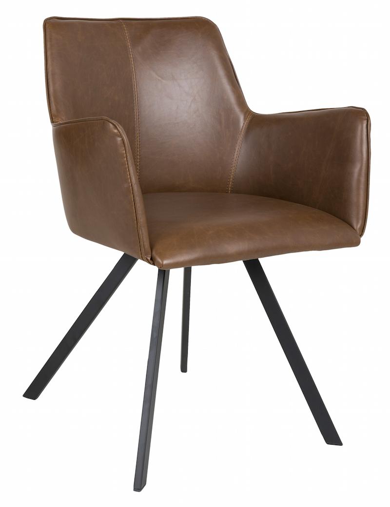 Canett Amigo spisebordsstol m/armlæn - brun på unoliving.com