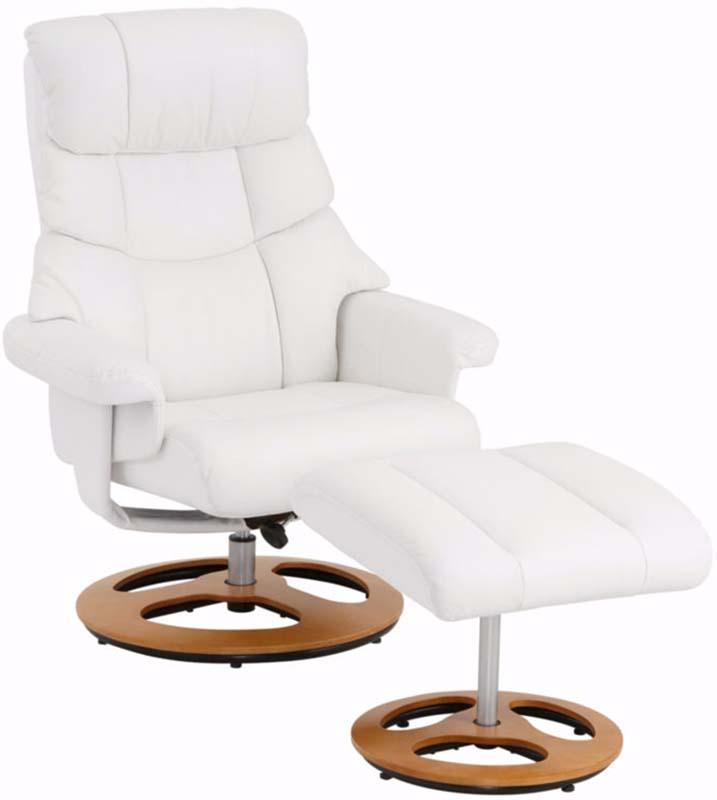 Billede af Tony Hvilestol med skammel Hvid læder og PU
