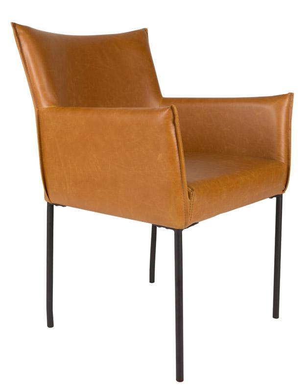 Homii spisebordsstol m. arm - cognac pu læder fra N/A fra unoliving.com