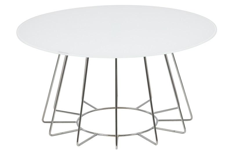 Sekura sofabord - hvid glas og krom - ø81 fra N/A fra unoliving.com