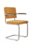 Zuiver Ridge Spisebordsstol m/arm - Gul fløjl